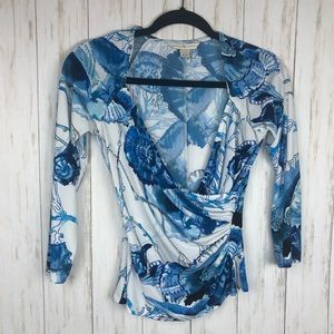 Boston Proper blue and white v neck blouse